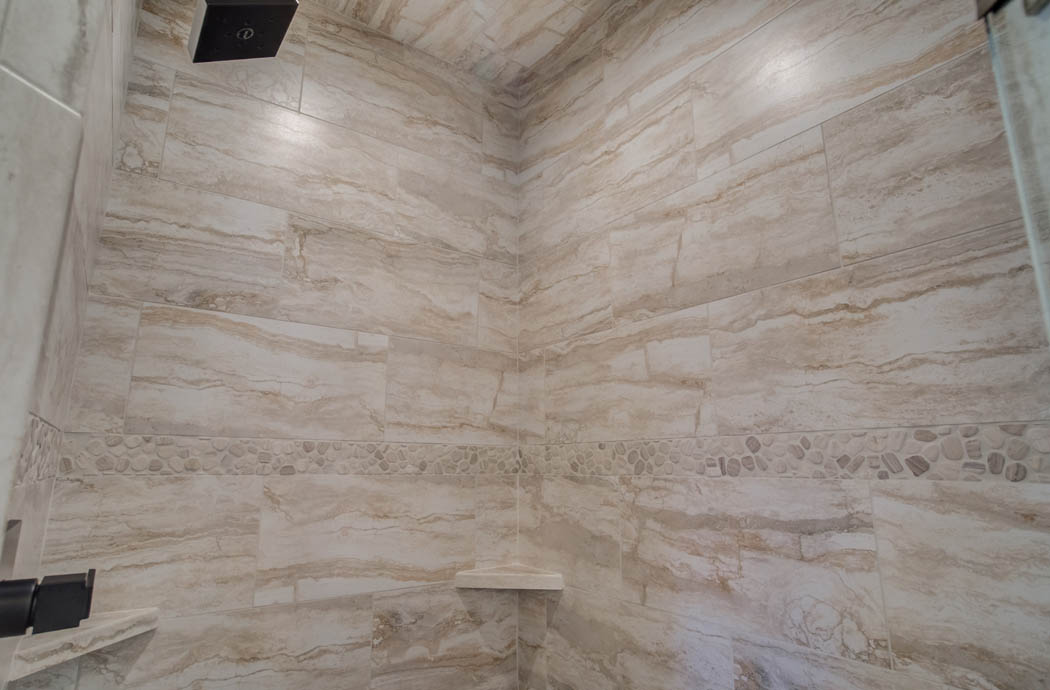 Amazing shower tile detail in Lubbock home.